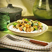 Sweet and Sour Stir Fried Chicken Over White Rice