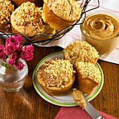 Peanut Butter Muffins on a Plate and in a Wire Basket
