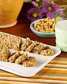 Peanut Butter Logs on a White Platter, Partially Sliced