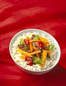 Sesame Beef Stir Fry Over White Rice