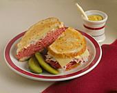A Reuben Sandwich with Pickles