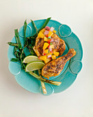 Grilled Chicken and Scallions with Mango Salsa