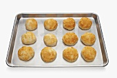 Cooked Biscuits on a Cookie Sheet