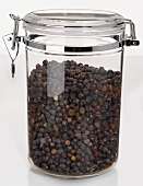 Dried Juniper Berries in an Airtight Container