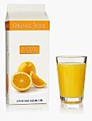 Orange juice in Tetra Pak carton and glass (USA)