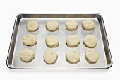 Unbaked Biscuits on a Baking Sheet