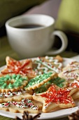 Assorted Colorful Christmas Cookies with Coffee