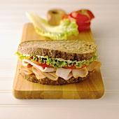 Turkey, Lettuce and Tomato on Whole Grain Bread