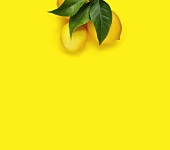 Lemons with Leaves on a Yellow Background