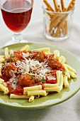 Rotini with Sauce, Meatballs and Parmesan; Wine and Grissini