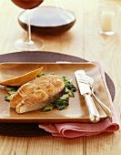 Salmon Steak with Sweet Potato and Red Wine