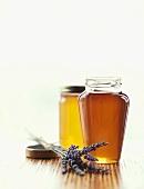 Honey Jars with Fresh Lavender