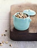 Fresh Black Eyed Peas in a Blue Pot