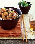 Brown Sugar Glazed Asian Shrimp Over Rice