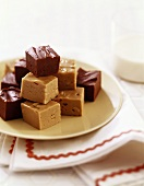 Pieces of Chocolate and Peanut Butter Fudge