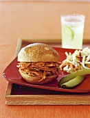 Barbecue Chicken Sandwich with Coleslaw, Pickle and Lemonade