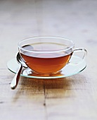 A Cup of Tea in a Clear Glass Cup and Saucer