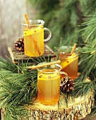 Several glasses of hot cider for Christmas