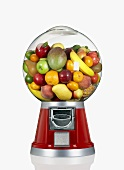 Mixed Fruit in a Candy Dispenser