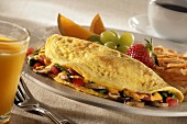 Mushroom, Tomato and Cheese Omelette with Fruit and Hash Browns