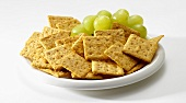 Wheat Crackers with Green Grapes