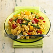 Fusilli Pasta Salad with Asparagus and Bell Peppers