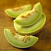 Halved and Sliced Honeydew Melon