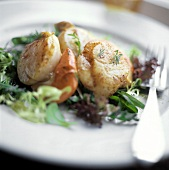 Broiled Scallops on a Bed of Mixed Greens