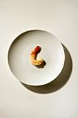 Single Shrimp on  White Plate