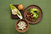 Lunch Assortment: Tuna Salad with Dill on Romaine with Oat Roll, Tarragon Chicken Salad and Grilled Vegetable Salad