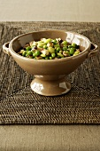 Edamame and Mushrooms in a Porcelain Serving Bowl