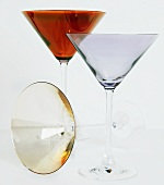 Three Empty Martini Glasses
