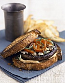 Portobello Mushroom Burger with Blue Cheese, Red Peppers and Citrus Mayonnaise