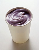 Blueberry Yogurt in a White Cup
