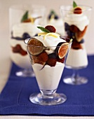 Yogurt with Figs and Raspberries in Dessert Glasses