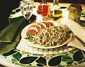 Fettucini with Pesto and Caprese