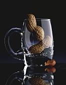 Two peanuts in a beer mug