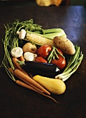Vegetable Still Life on a Wooden Table