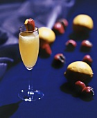 Champagne Cocktail with Lemon and Strawberry
