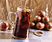 Spiced Apple Juice in a Glass Pitcher
