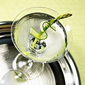 Overhead of Martini Garnished with an Asparagus Spear and Zucchini Slice