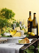 Cheese platter with white wine and grapes
