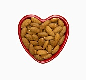 Almonds in a Red Heart Shaped Bowl