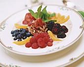 Fresh fruit on porridge