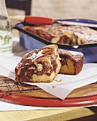 Marble cake baked in roasting tin