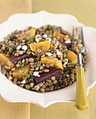 Lentil salad with beetroot and sharon fruit