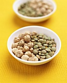 Bowl of chick-peas and lentils