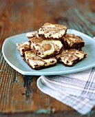 Platter of Cheesecake Swirled Brownies