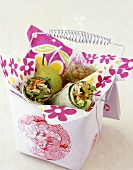 Healthy Lunch in a Basket; Chicken Salad Wraps with a Pear and Golden Raisins