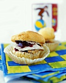 Turkey and Cranberry Sauce Served on a Halved Muffin